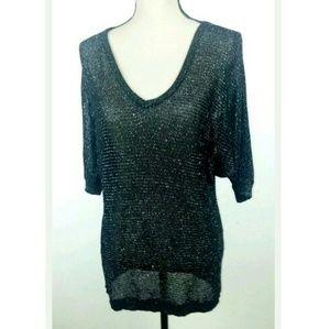 Torrid Black Silver Metallic Sheer Shirt Rayon